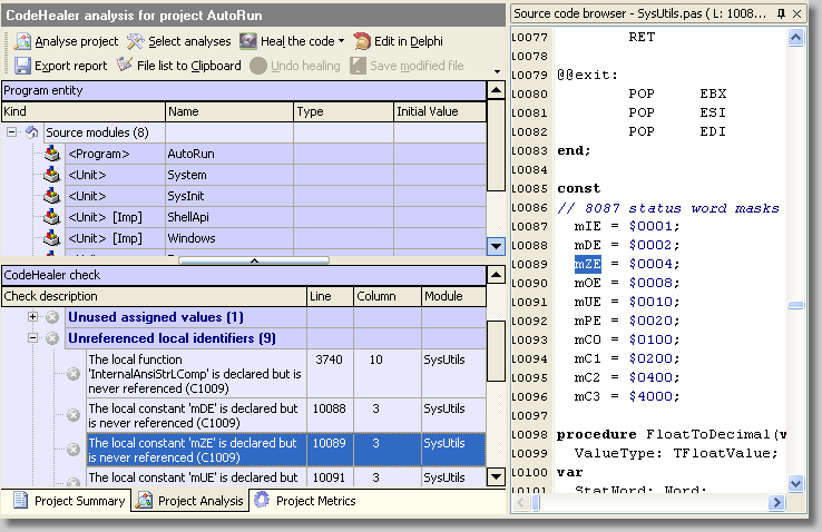 Screenshot of CodeHealer